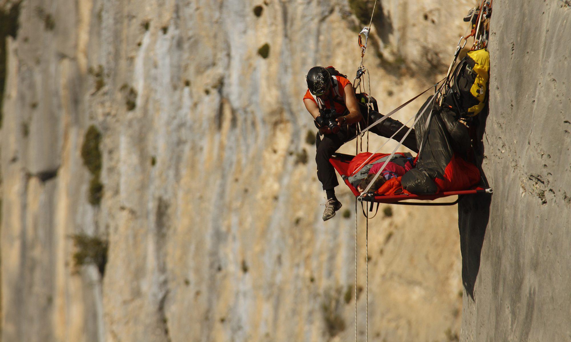 Fred Ripert cadreur sur corde dans les gorges du Verdon